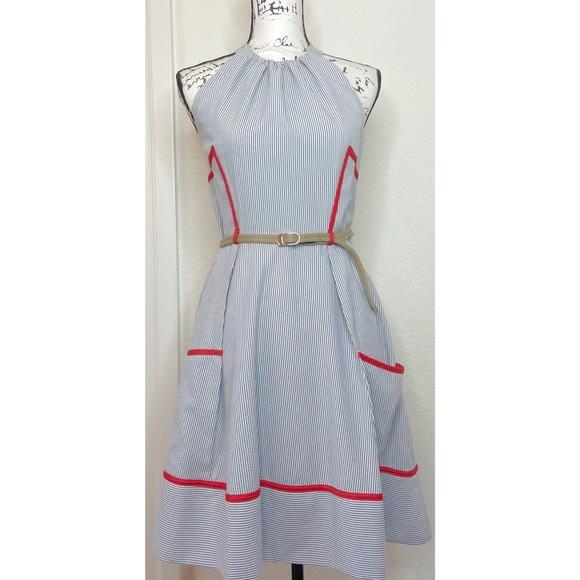 Jessica Simpson Dresses & Skirts - Jessica Simpson Pinstripe Halter Dress Size 6